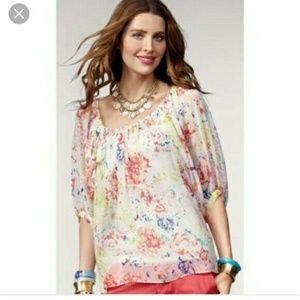 CAbi Watercolor Sheer Floral Blouse | Style #826